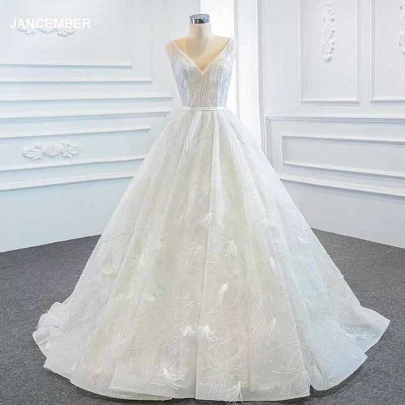 J67178 فستان زفاف أبيض مزين بشراشيب ، فستان زفاف مكشوف الظهر مع ياقة على شكل قلب