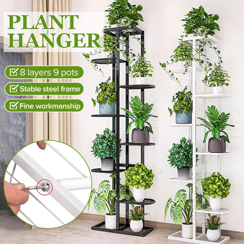 8 Tiers Iron Flower Rack 43x22x141cm Plant Stand Multi Flower Stand Shelves for Bonsai Display Shelf Yard Garden Patio Balcony