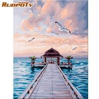 ruopoty 60x75cm oil painting by numbers diy framed road on ocean landscape paints kits coloring by numbers paint art pictures