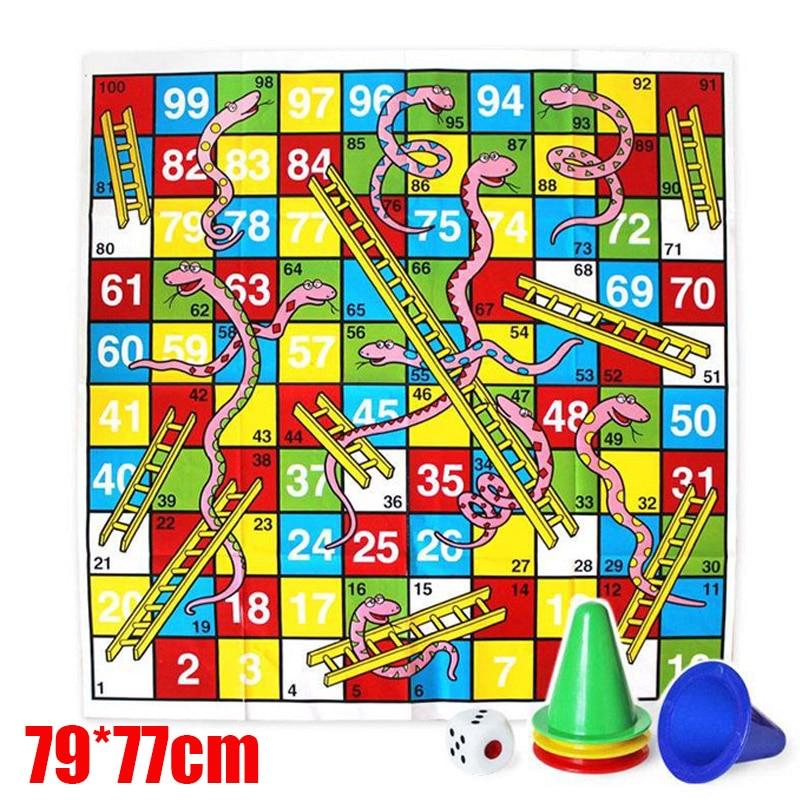Дети людо змеи и лестницы гигантская настольная игра головоломка напольный коврик Activite креативный Pour Enfant Giochi Bambini 77*79 см