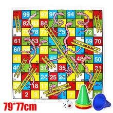 Enfants Ludo serpents et échelles jeu de société géant Puzzle tapis de sol Activite créatif Pour Enfant Giochi Bambini 77*79cm