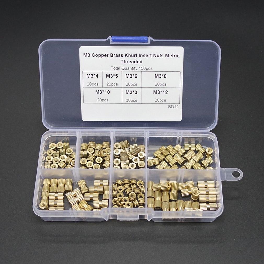 Tuerca de inserción de bronce 150 Uds M3 moldeado por inyección inserto de cobre de doble paso tuercas moleteadas tuercas de rosca