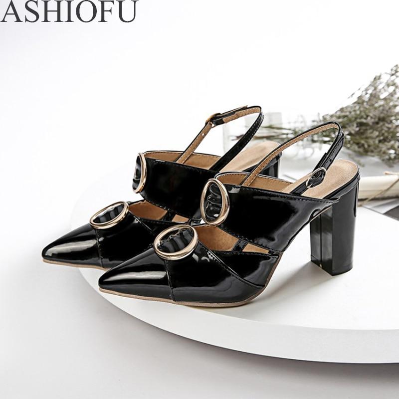 ASHIOFU hecho a mano señoras 8,5 cm zapatos de tacón grueso de Metal-Cyrcles puntiagudos para fiesta zapatos de tacón de bloque de moda Zapatos de corte de noche