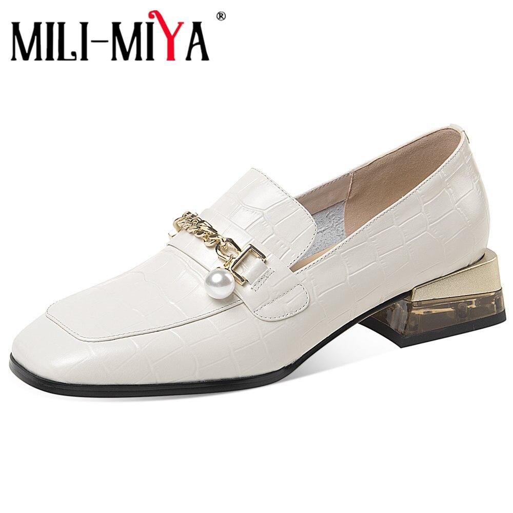 MILI-MIYA النساء مضخات جلدية حقيقية ساحة تو الانزلاق على بلون منصة صندل بكعب مكتنز سلسلة معدنية حذاء كاجوال حجم كبير 34-42