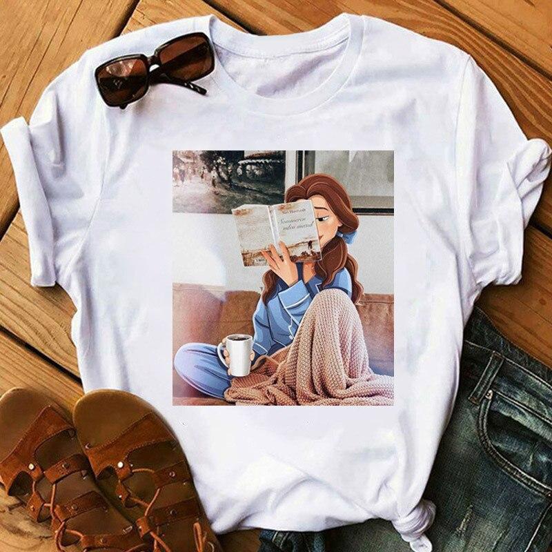Women's Princess Pattern Printed Fashion Tshirt Girl Short Sleeve Modern Design T-Shirt Female Harajuku Ulzzang Clothes