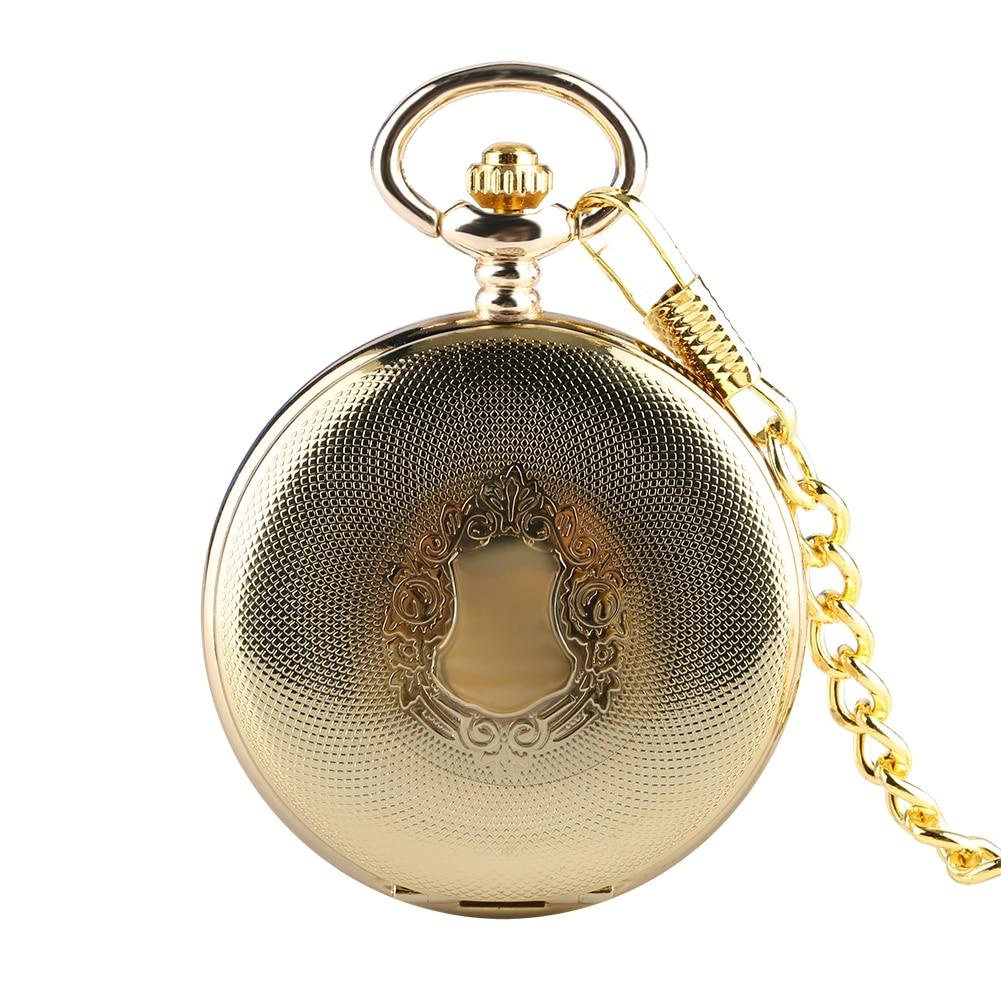 Relógio de Bolso Luxo Ouro Masculino Feminino Requintado Capa Padrão Preto Numerais Mecânicos Dial Corrente Grossa Pingente Pequeno Relógio