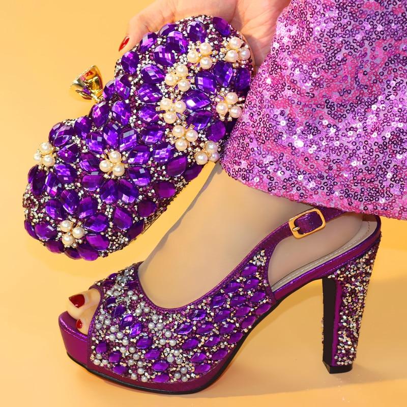 Recién llegado, conjunto de zapatos y bolsos con tacones Hig de diamantes de imitación africanos para boda, nuevo conjunto de zapatos y bolsos italianos de 11,3 CM para mujer