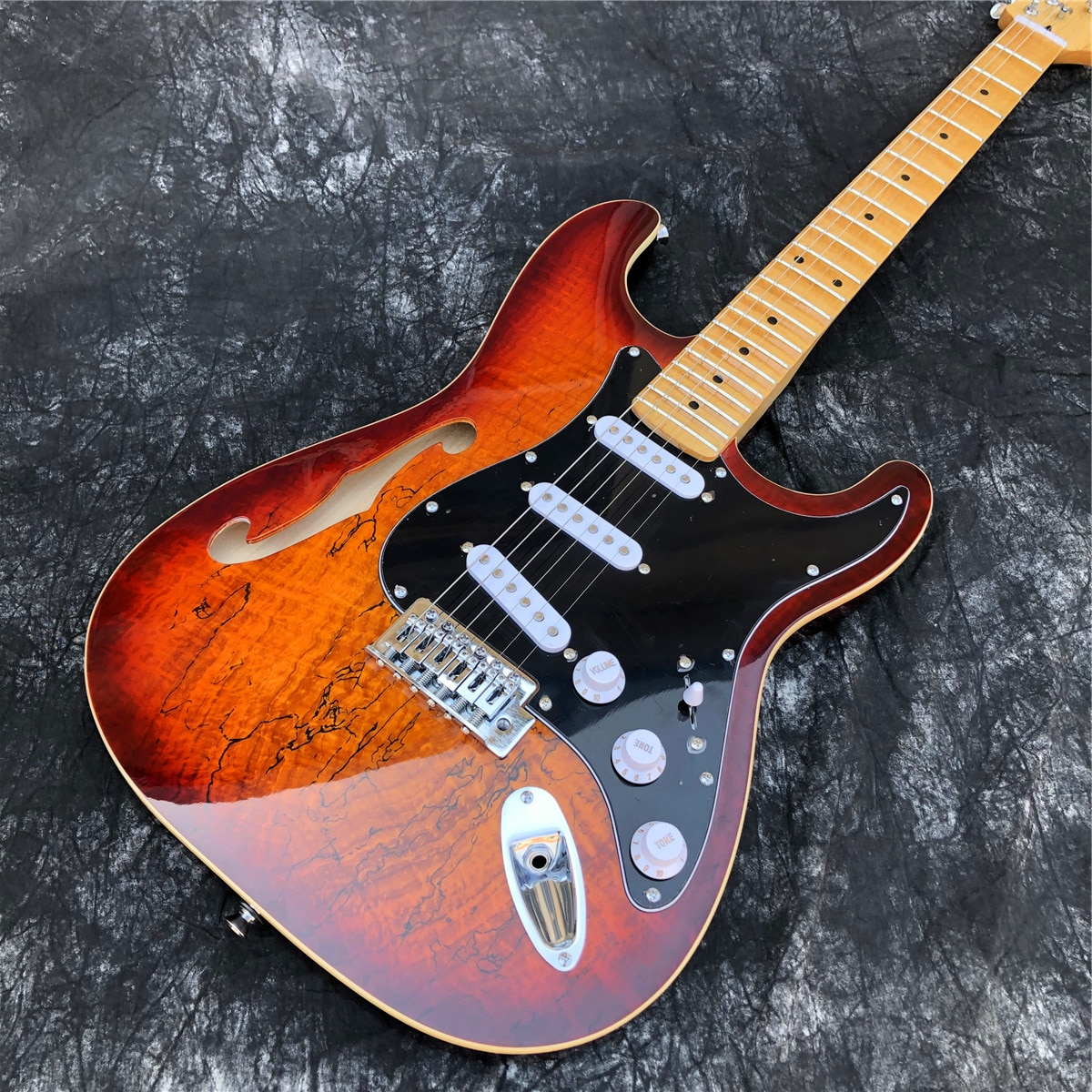 Sunset Color 6 Strings F Holes Maple Fingerboard ST Electric Guitar,Real Photos,Free Shipping