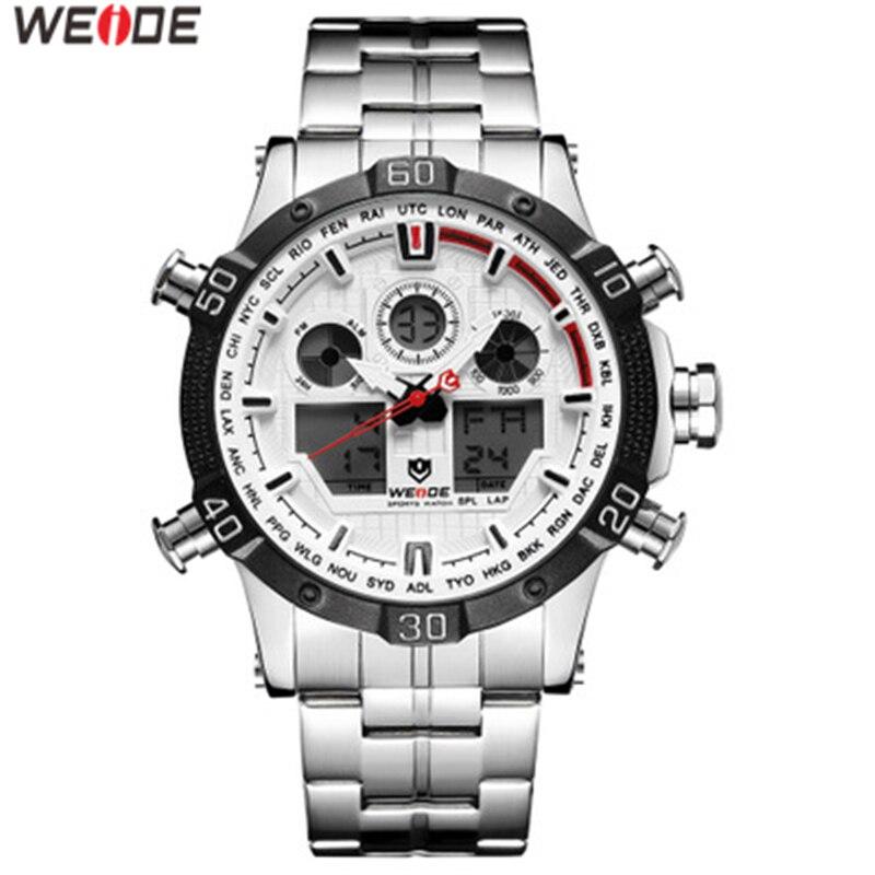 Reloj WEIDE para Hombre, Reloj militar de acero inoxidable con correa Digital, cronógrafo de doble fecha para Hombre