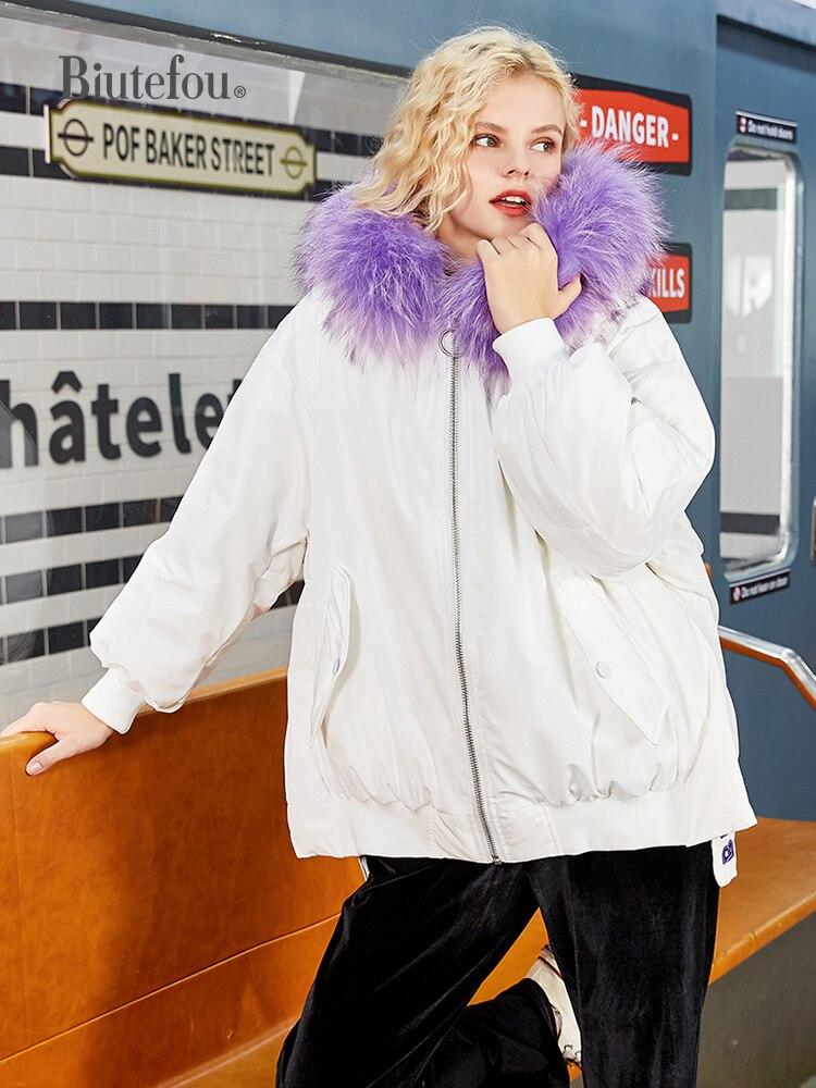 2021 Winter Women Long Embroidered Down Jacket Fur Collar Parkas