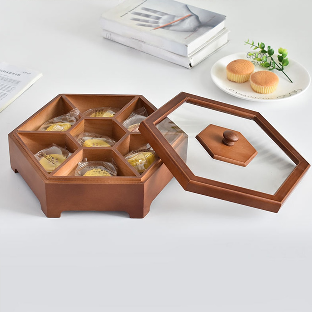 Caja de caramelos con tapa multifunción, sólida, de madera, para hogar, fruta seca, envase de aperitivos, caja de dulces de protección, surtido de almacenamiento para boda