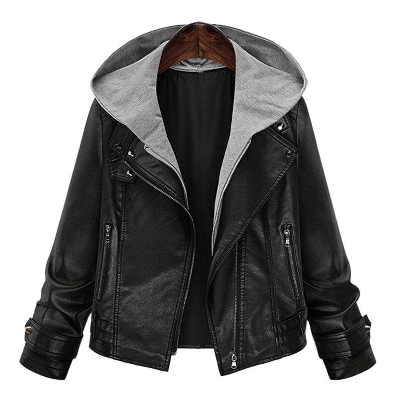 Женская свободная куртка большого размера, Куртки из искусственной кожи, новые модные женские кожаные короткие куртки, приталенные женские...