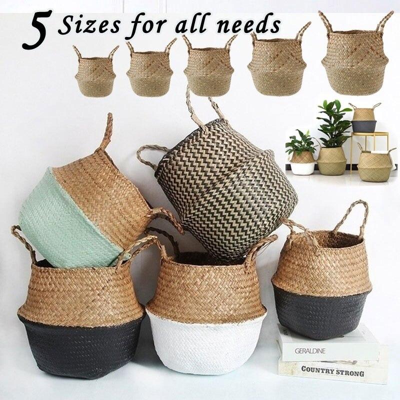 Handmade Woven Storage Basket Folding Clthoes Laundry Straw Wicker Rattan Seagrass Belly Garden Flower Pot Plant