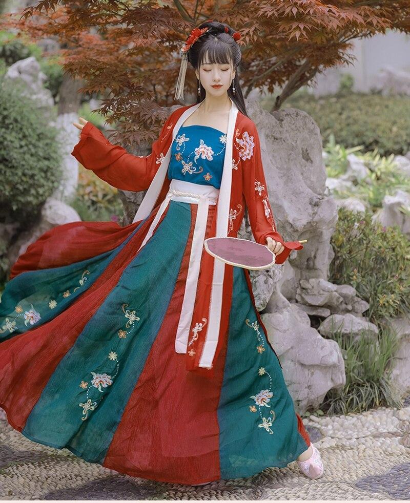 فستان Hanfu من ثلاث قطع ، فستان الفاوانيا على الطراز الصيني ، تنورة صيفية أصلية ، ملابس خرافية