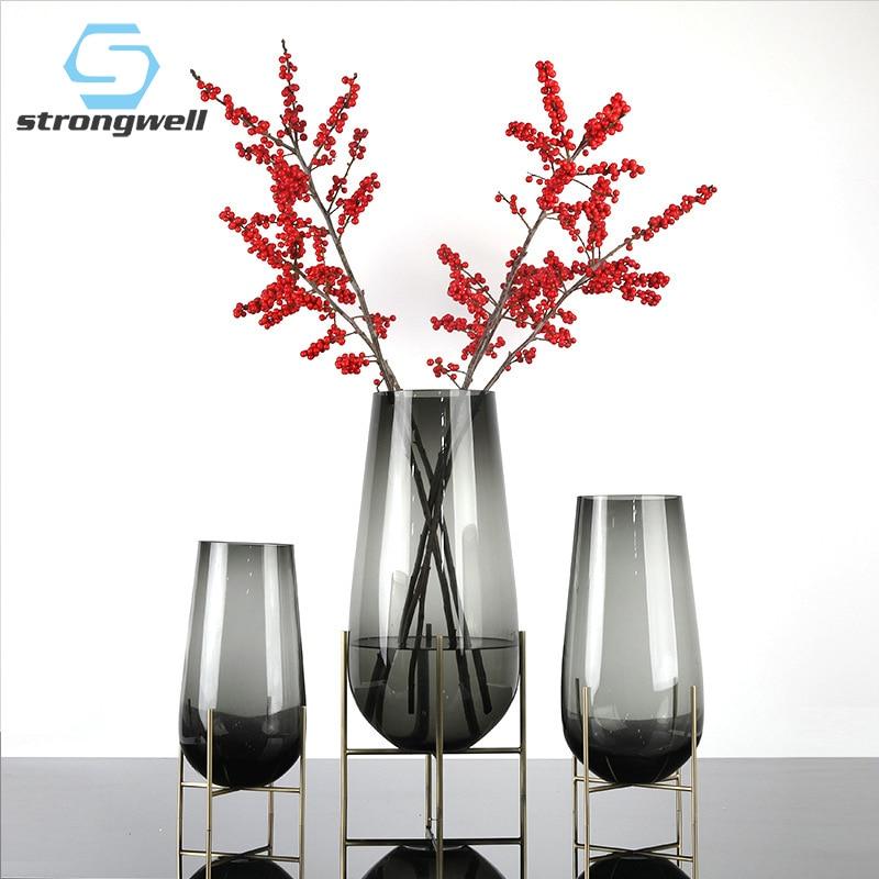 Nordic Luxury Thick Big Flower Vase Metal Shelf Fruit Plate Home Decor Home Decoration ModernLiving Room Art Vases Wedding Gift