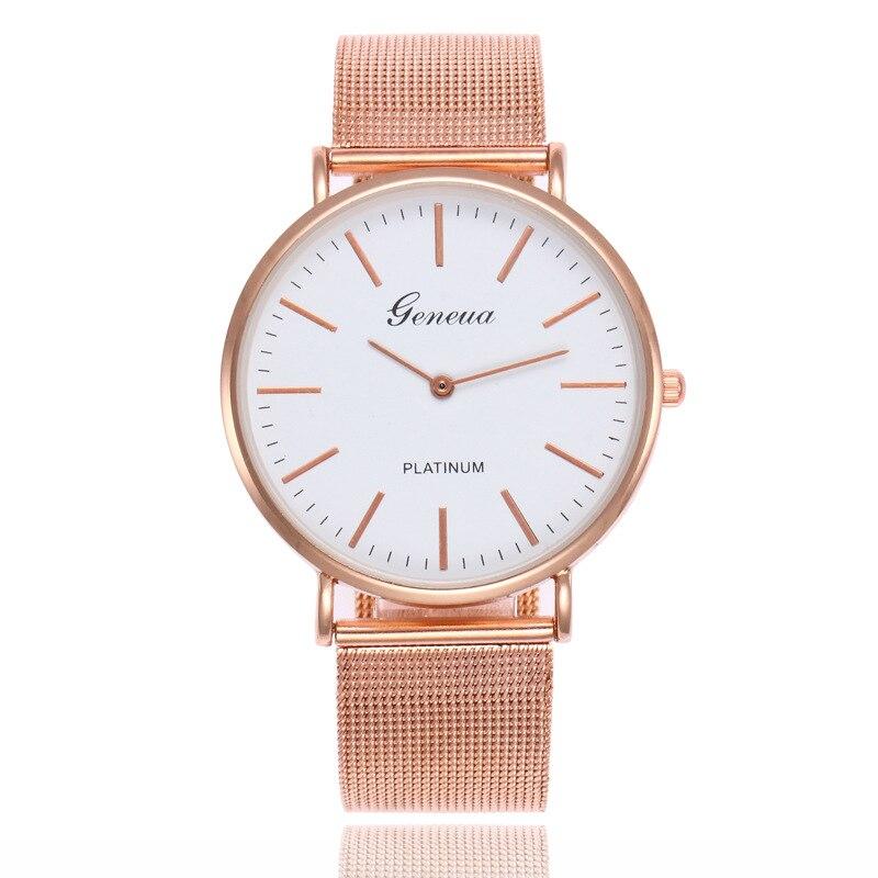 GENEVA Luruxy reloj de mujer Casual pulsera de oro rosa reloj de pulsera de cuarzo analógico relojes reloj de mujer reloj femenino