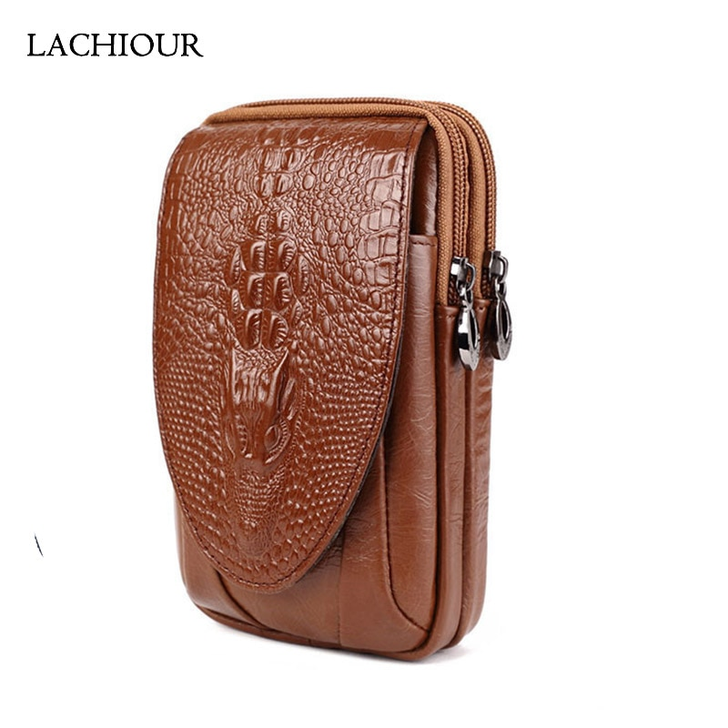 Men Genuine Leather Belt Bag Male Leather Crocodile Waist Packs Men's Travel Phone Pouch Belt Hip Waist Bag luxury brand waist packs women crocodile pattern pu leather fit 5 5 inches phone funny bags ladies travel money wallet belt bag