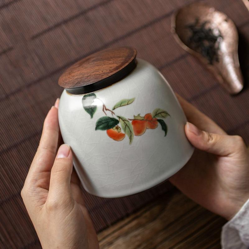 صندوق شاي مصنوع يدويًا من السيراميك صندوق تخزين محمول مقاوم للرائحة هدية صينية مختومة صندوق شاي للسفر وعاء De Rangement أدوات منزلية DB60YG