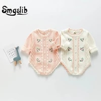 smgslib 2021spring autumn infant baby knitting rompers long sleeve children clothes printing coat romper baby girls 03 years