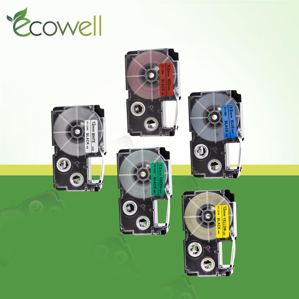 Ecowell etiqueta fita XR-12WE xr12we XR-12RD XR-12BU fita compatível para casio ez fabricante de etiquetas KL-60 KL-60SR kl120 impressora xr 12we