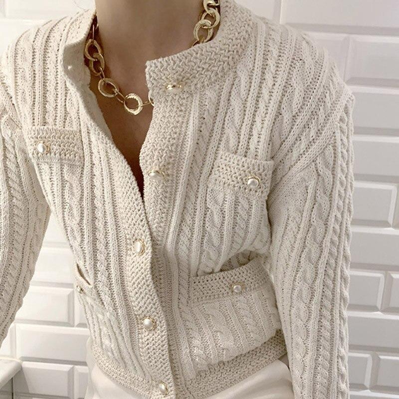 Sudadera con perlas de punto para mujer, cárdigans con escote en V y manga larga para chica, cárdigan elegante con una hilera de botones para mujer, otoño 2020