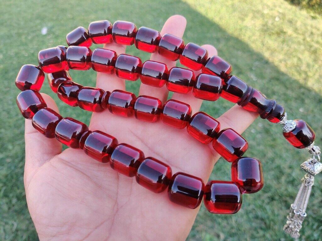 Ottoman Faturan German Amber Sandalous Misbaha Prayer Beads Islamic Gift Tasbih Tasbeeh Tasbeh Rosary Tasbih #21