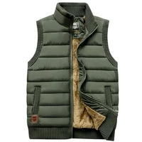 brand 2021 thicken winter mens vest zipper coat warm sleeveless jacket casual fleece male vest coat army green waistcoat black