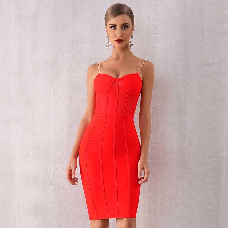 Atacado 2020 nova mulher vestido de cor múltipla cinta de espaguete sexy perspectiva celebridade coquetel vestido bandagem