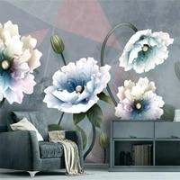 beibehang custom relief peony european retro photo wallpaper for bedroom living room sofa tv background wall decorative painting
