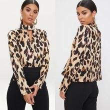 Chemises Plus femmes léopard Pirnt Blouses taille Blouse à manches longues licou col chemise Blouses décontractées automne mode blusas