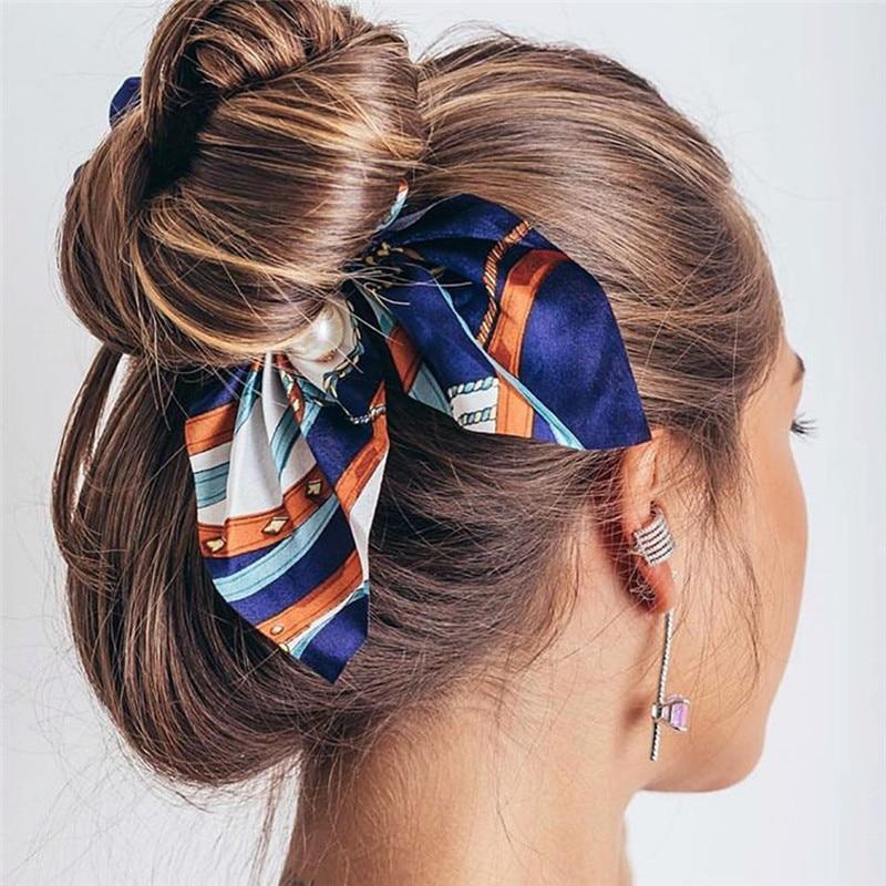 New Chiffon Bowknot Silk Hair Scrunchies Women Pearl Ponytail Holder Hair Tie Hair Rope Rubber Bands Hair Accessories