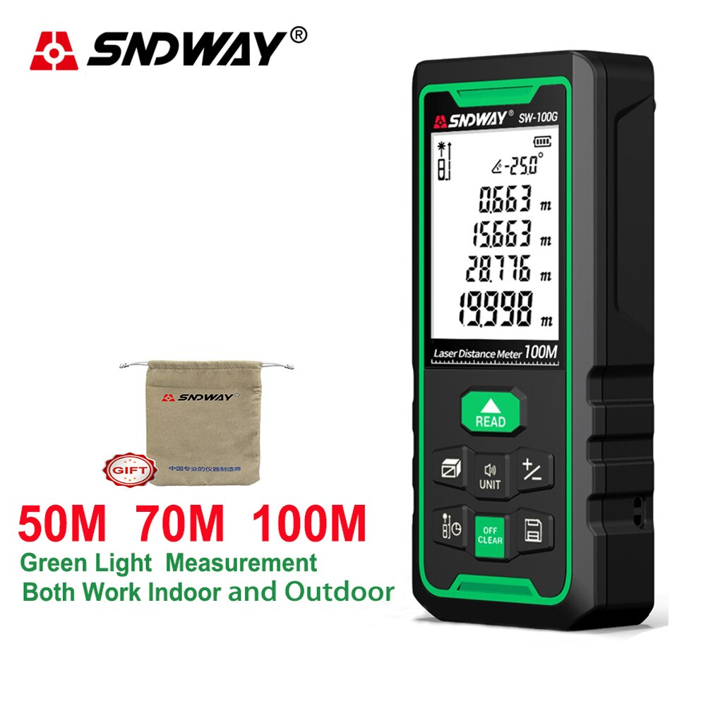 Sndway laser range finder medidor de distância digital laser verde telêmetro fita medição régua ferramenta interior e exterior laser 50m