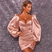 fashion satin full lantern sleeve sheath mini dress sexy strapless pleated elastic dress women vestidos party night club outfits