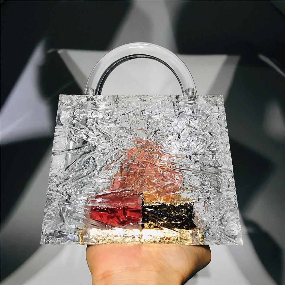 حقيبة يد نسائية من الأكريليك الشفاف ، حقيبة يد فاخرة ، نمط الكراك الجليدي ، سميك ، للحفلات ، العشاء