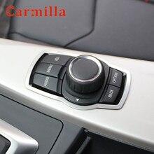Carmilla Edelstahl Innen Refit Multimedia Tasten Abdeckung Trim für BMW X1 X3 X5 X6 F20 F01 F30 F15 F34 f31 Zubehör