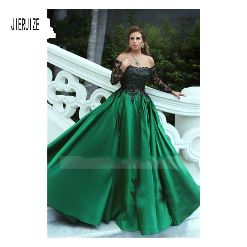 JIERUIZE Vintage vestido de fiesta verde vestido de novia sin hombro negro Apliques de encaje de princesa vestidos de novia de manga larga robe de mariee