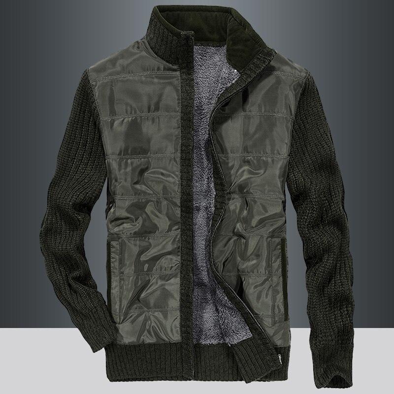 Men Sweater Coat Cardigan Zipper 2021 New Winter Plus Velvet Keep Warm Male Thermal Sweater Pocket Thick Black Green Yellow M70