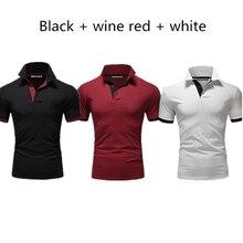 3 Pieces New Summer Pure color Men Polo Shirt Short Slim Fit  Black Polos Business Fashion Streetwear Tops Men Shirts Spo