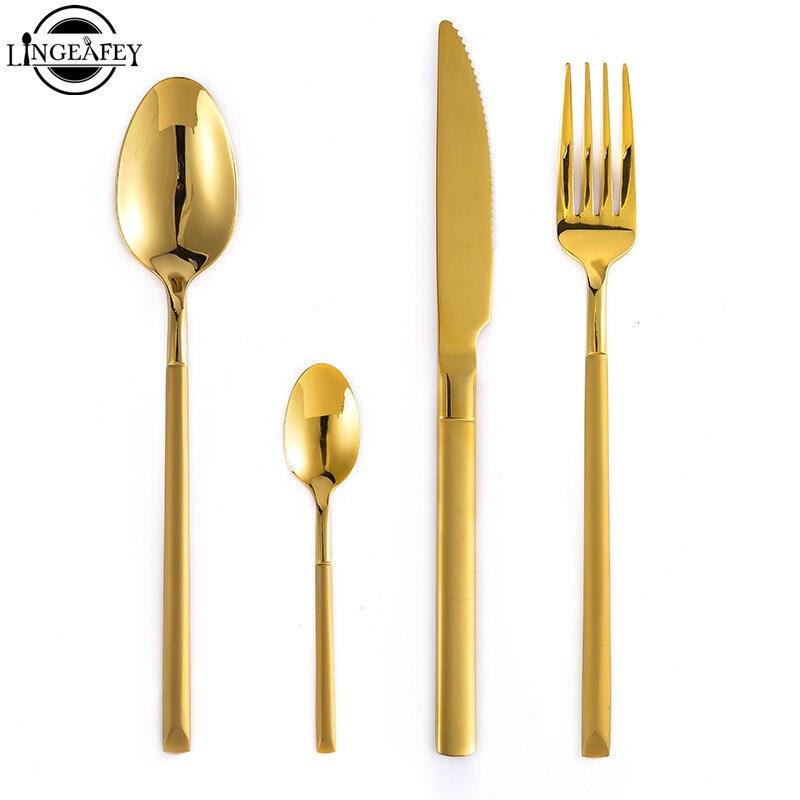 2019 or brillant acier cuisine couverts ensemble vaisselle dîner fourchette cuillère couteau ensemble Restaurant occidental en acier inoxydable vaisselle