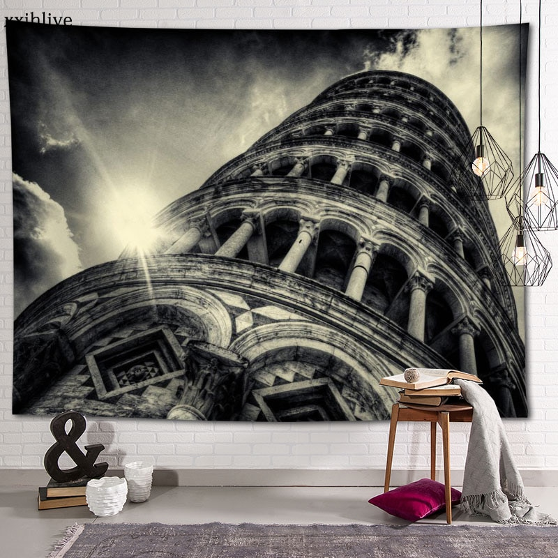 Famous Italian Architecture Leaning Tower Of Pisa Custom HD Tapestry For Carpet Travel Mattress Wall Carpets Art Home Decor