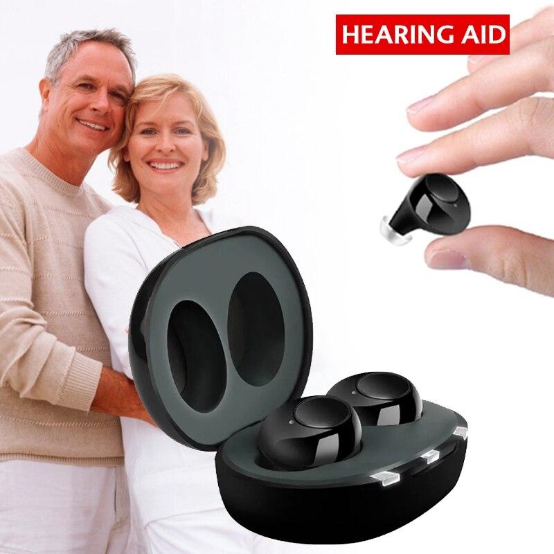 AMPLIFICADOR DE SONIDO Invisible para sordos y ancianos, dispositivo recargable por USB, 1 par