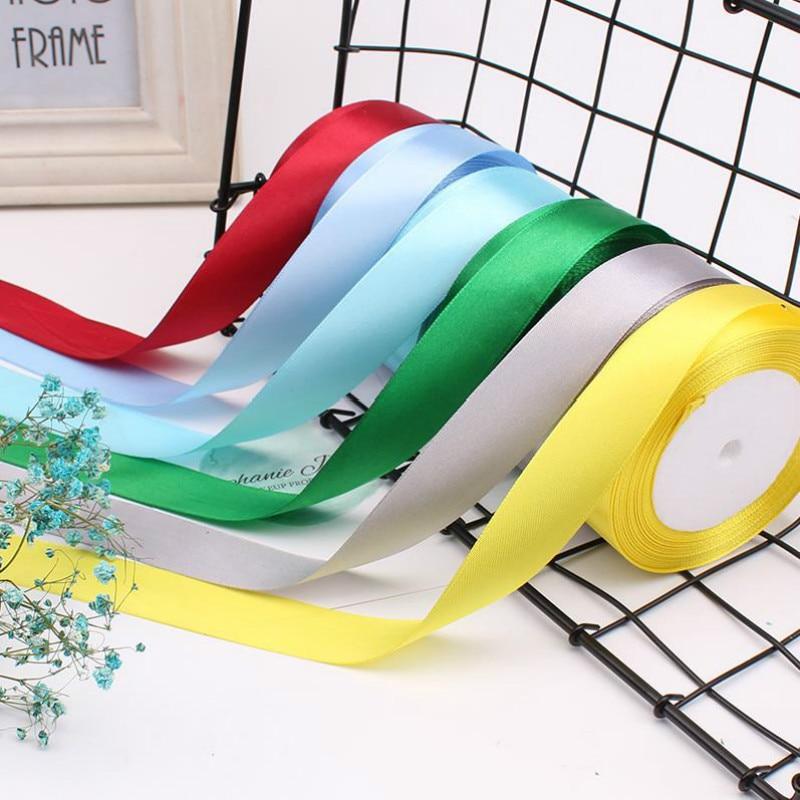 25 yardas 15mm cintas de satén Navidad decoración para fiesta de boda cumpleaños Halloween regalo envoltura cintas DIY blanco rojo azul verde