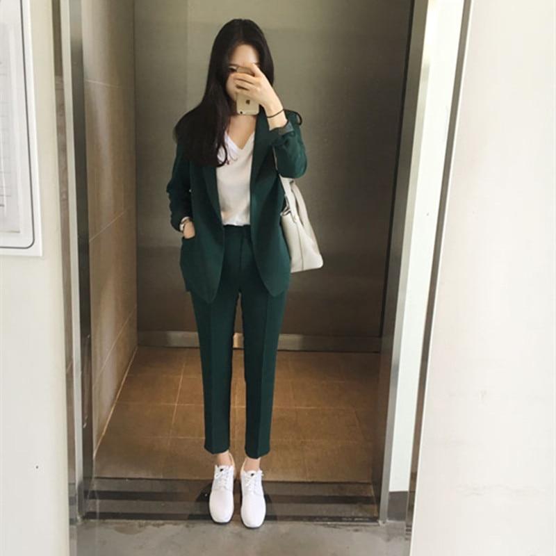 2021 New Women OL 2 Piece Sets Solid Blazer Jacket & Trousers Suit Elegant Office Work Wear Pant Suits for Female Set Formal
