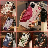 waterproof silicone phone case for oppo realme c11 original wrist strap fashion design flower