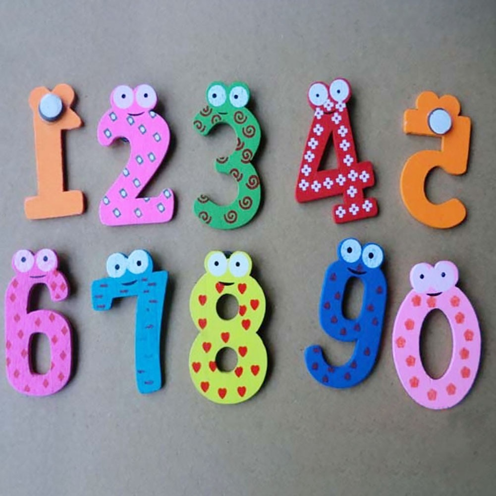 10Pcs/LOT Numbers Cartoon Educational Toy home decoration Children Wooden Fridge Magnet For Kids Mes