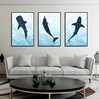 nursery wall art cartoon dolphin canvas painting nordic poster cute abstract animals pictures for kid room decoration no frame