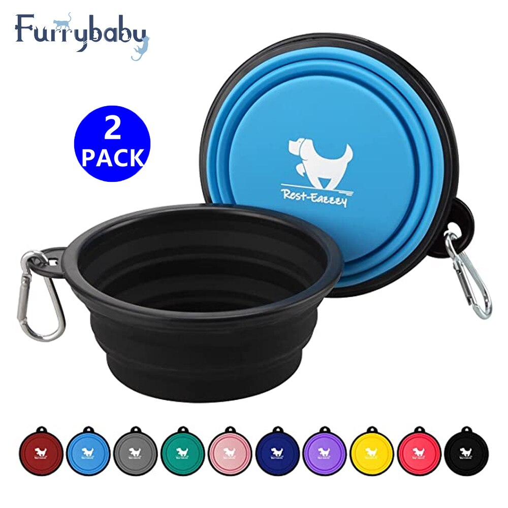 AliExpress - 2-Pack Collapsible Dog Bowls for Travel Dog Portable Water Bowl for Dogs Dish for Traveling Camping Walking with 2 Carabiners