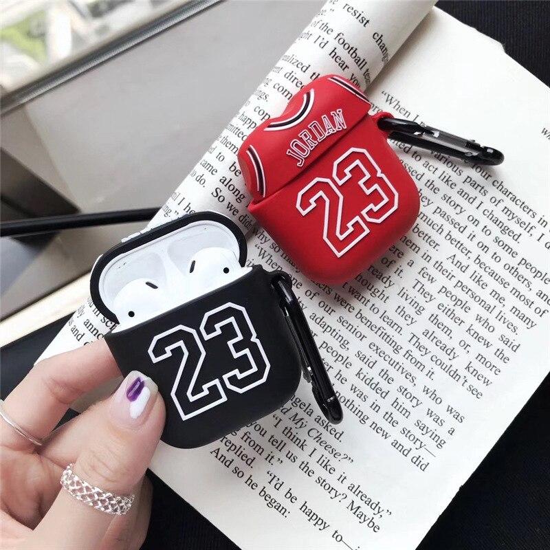 Jordan silicone funda coque para airpods capa caso do fone de ouvido para airpods caso bonito anime luxo número 23 em acessórios do fone de ouvido