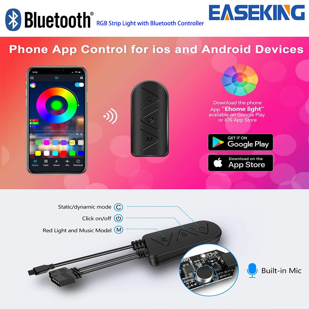 Bluetooth LED Strip RGB Led Light SMD5050 DC24V LED Tape Light 20m Diode Ribbon Flexible with Bluetooth APP Remote Control Panel enlarge