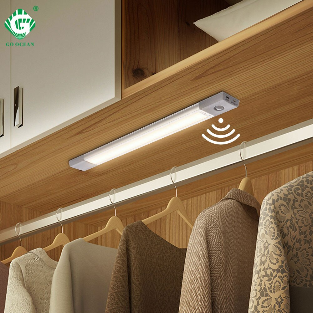 40 см ПИР Светодиодная подсветка под шкаф датчик движения 5В 1,2 Вт беспроводной шкаф освещение магнит кухонный шкаф Ночная лампа переключате...